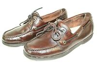 ROCKPORT mens boat shoes size 10 wide leather upper dark brown excellent cond.