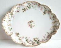 Haviland Limoges Double Gold Serve Platter Vanity Tray Green Pink Flower France