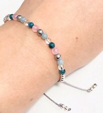 Just Gemstones Strength & Love Apatite Rose Quartz Bracelet -Adjustable