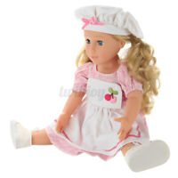 18'' Reborn Girl Doll Vinyl Realistic Full Body Kid Toy W/ Cherry Chef Outfit US