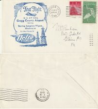 US 1948 AM 24 FIRST FLIGHT FLOWN COVER LONGVIEW TEXAS TO SHREVEPORT LOUISIANA