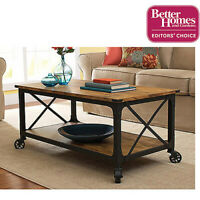 Weathered Pine Finish Rustic Country Coffee Table Home Living Room Furniture