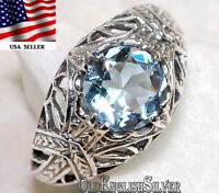 1CT Aquamarine 925 Solid Sterling Silver Victorian Style Ring Jewelry Sz 6
