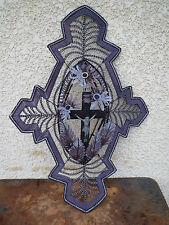 ANCIENNE COURONNE PERLE DE VERRE FLEUR RELIGIEUX RELIGI FRENCH ANTIQUE RELIGIOUS