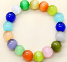 Natural 10mm Multi-Color Cat Eye Stone Opal Gemstone Stretchy Bangle Bracelet
