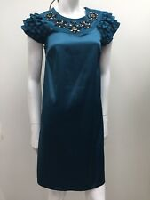 Review Design sz 8 Teal Green Sateen Smock Dress w Beaded Neckline