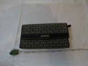 Fossil signature wallet black grey credit card checkbook change ID window preown