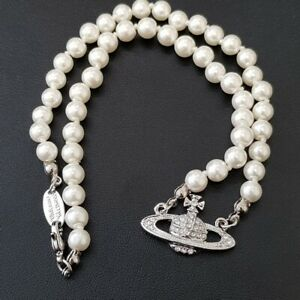 Vivienne Westwood Mini Bas Relief Pearl CHOKER Necklace - Silvery