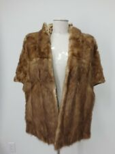 CAPE Mink Real Fur Coat Jacket Craft Cutter Beige Women's 38457