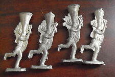 """Lot of 4 Vintage Thin Lead Indian Figures 2 1/2"""" Tall"""