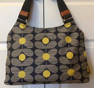 Orla Kiely Laminated Shoulder Bag, Navy & Yellow, SUPERB CONDITION