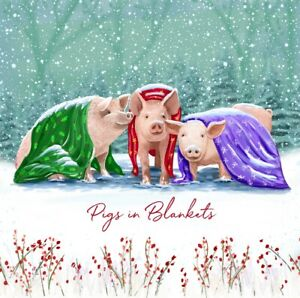 Charity Christmas Cards ~ 10 Pack with Envelopes ~ Pigs in Blankets