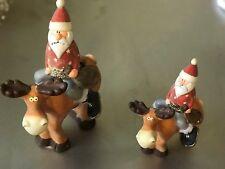 Elch 'lustig' stehend mit Weihnachtsmann  Höhe ca. 30 und 20 cm