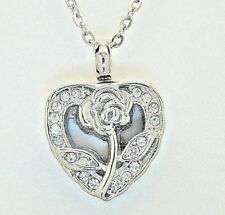 Cremation Urn Necklace, CZ Open Rose Heart || Looks Like April Birthstone