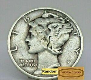 1917-D Mercury Silver Dime, Full Date in Low Grade  - #C21983NQ