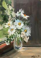Print of Original oil painting art summer flower daisy impressionism shabby chic