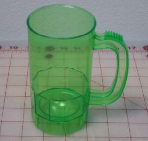 Small Kid's Size Plastic Mugs W/ Handles Made In USA Clear Green Color 14 Oz