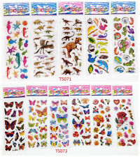 3D cartoon Animals and butterfly Stereoscopic puffy  stickers lot for kids gift