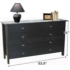 Bedroom Storage Double Dresser Chest 8 Drawer Modern Wood Furniture Black