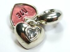 GENUINE PANDORA 925 ALE SILVER RED LOVE HEARTS YOU & ME PENDANT CHARM 791244CZ