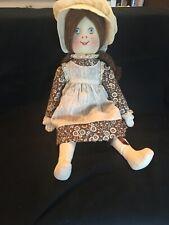 Handmade Cloth Doll Needlepoint Face Colonial Bonnet & Dress 19�