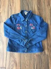 Womens Christopher Banks Size Lg LS Embroidered Button Up Denim Blue Jean Jacket