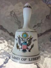 Vtg The Land Of Liberty 1776 1976 Eagle Shield Porcelain Hand Bell Bicentennial