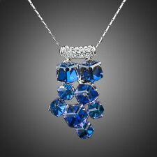 Stylish Fashion Rhodium Plated Blue Cubes Austria Crystal Chain Necklace Pendant