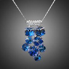 Elegante Moda Rodio Plateado Azul Cubos Austria Cristal Cadena Collar Colgante