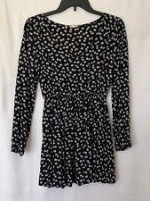 En Creme Teen Black/White Floral Long Sleeve Dress Size S
