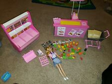 Barbie 1990's Supermarket Grocery Store Food Shelf Cart Checkout Barbie Accessor