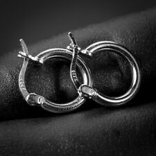 Small Solid 925 Sterling Silver White Gold Plated Men Huggie Hoop Earrings