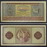 1943 WWII Croatia NDH 5000 Kuna Paper Money Banknote German Nazi Occupation
