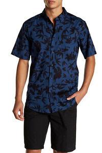 EZEKIEL Men's S/S Button-Up Shirt TROPICOOL - DKBL - Large - NWT