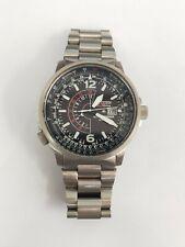 Citizen Eco-Drive Nighthawk Pilot WR200 Watch B877-S015693 Stainless Steel
