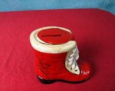 Vintage Red Santa Christmas Boot Shoe Money Coin Piggy Bank