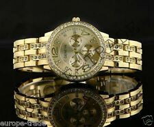 Womens Round Watch Ladies Fashion Gold Designer Style Crystal UK Geneva