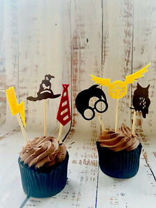 HARRY POTTER Cake Toppers x24 Felt Hedwig Harry Scar Tie Snitch Sorting Hat🧁