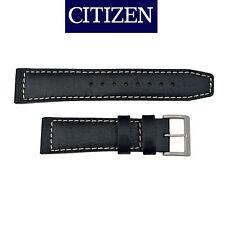 Citizen original Black Genuine Leather watch band Strap 22mm BM8471-01E