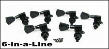 """6pc Black """"Tombstone"""" Sealed-Gear Guitar Tuners/Machine Heads (6 Right)"""