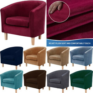 2 Piece Velvet Tub Chair Covers Stretch Armchair Slipcover Furniture Protector