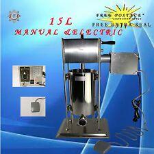 Electric & Manual 15L Sausage Salami Filler Stuffer Maker Speed Adjust S/STEEL