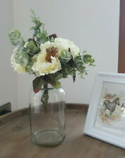 Ivory White Rose Faux Flower Greenery Foliage Bunch Bouquet in Clear Glass Vase