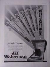 Publicité de presse 27 x 37,5 cm porte-plume Jif Waterman 1934