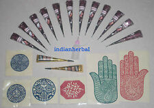 12 Natural + 2 Black  Henna Mehndi cone set with applicator and Reusable Stencil