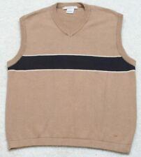 Sweater Vest Smith & Watkins Beige Blue Cotton Sleeveless Large V-Neck Solid Top