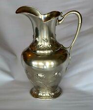 Antique Jug, Metal, Silver, Quist, Esslingen Art Nouveau, Flowers, rare  WMF