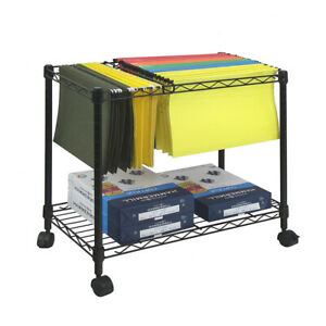 Mobile File Trolley Rolling Filing Cart with Shelf Home Office Storage Rack BN