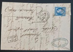 1866 Paris France Letter Sheet Cover To Marseille