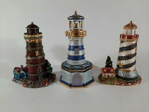 Lot Set 3 LIGHTHOUSES w/ CRAB PIN Bejeweled Enameled Trinket Hinged Box